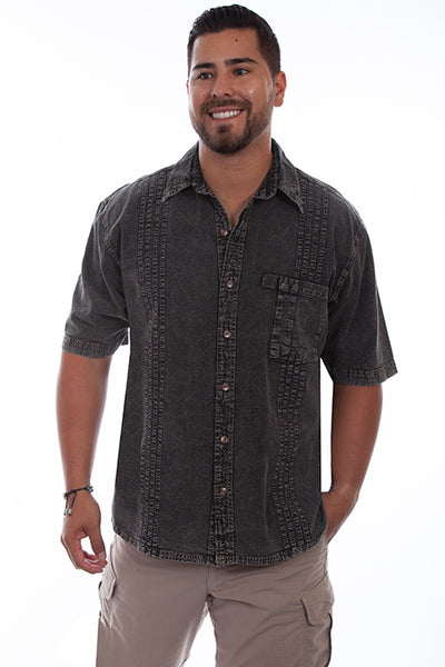 Farthest Point Collection Traveler Short Sleeve Distressed Black Front