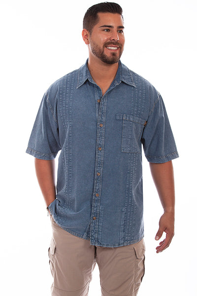 Farthest Point Collection Traveler Short Sleeve Light Washed Denim Front
