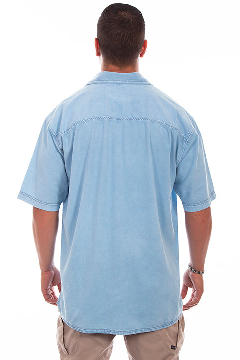 Farthest Point Collection Traveler Short Sleeve Distressed Sky Blue Back