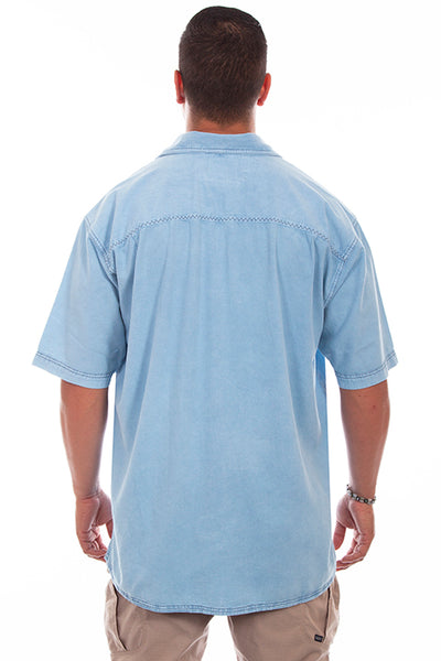 Farthest Point Collection Traveler Short Sleeve Distressed Sky Blue Front