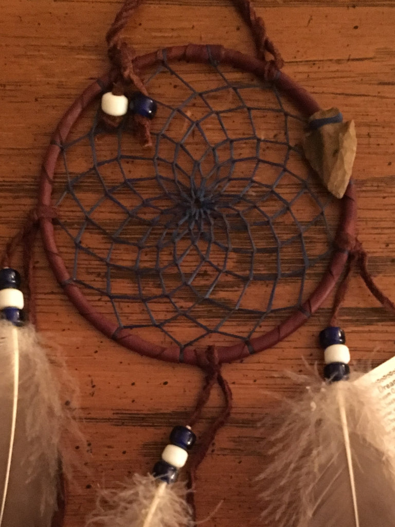 "Authentic Navajo Dream Catcher 4"" Natural Accent Navy Web Brown Wrap Detail"