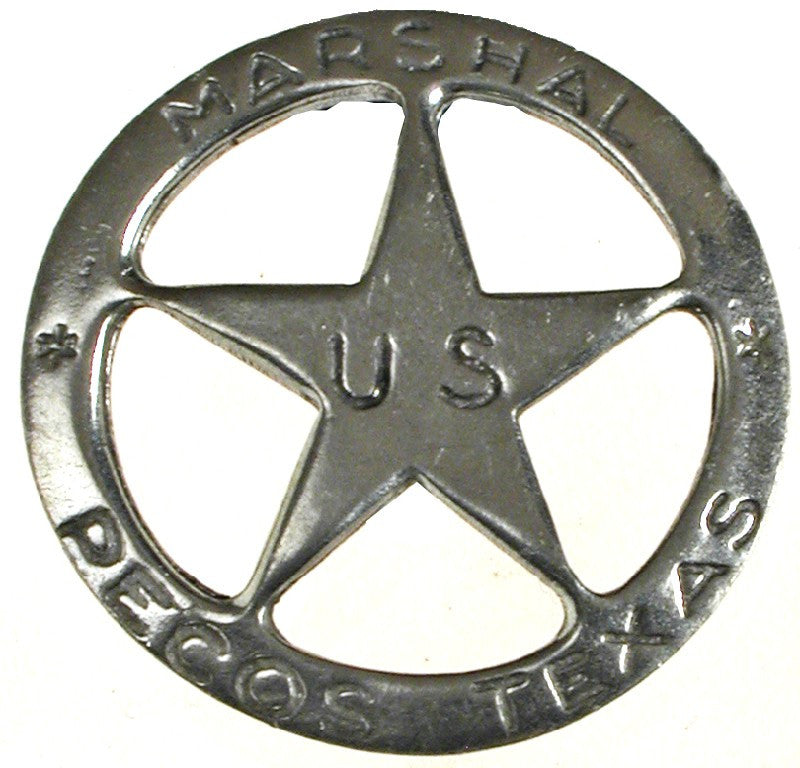 Old West Historic Replica Badge: US Marshal Pecos Texas Star