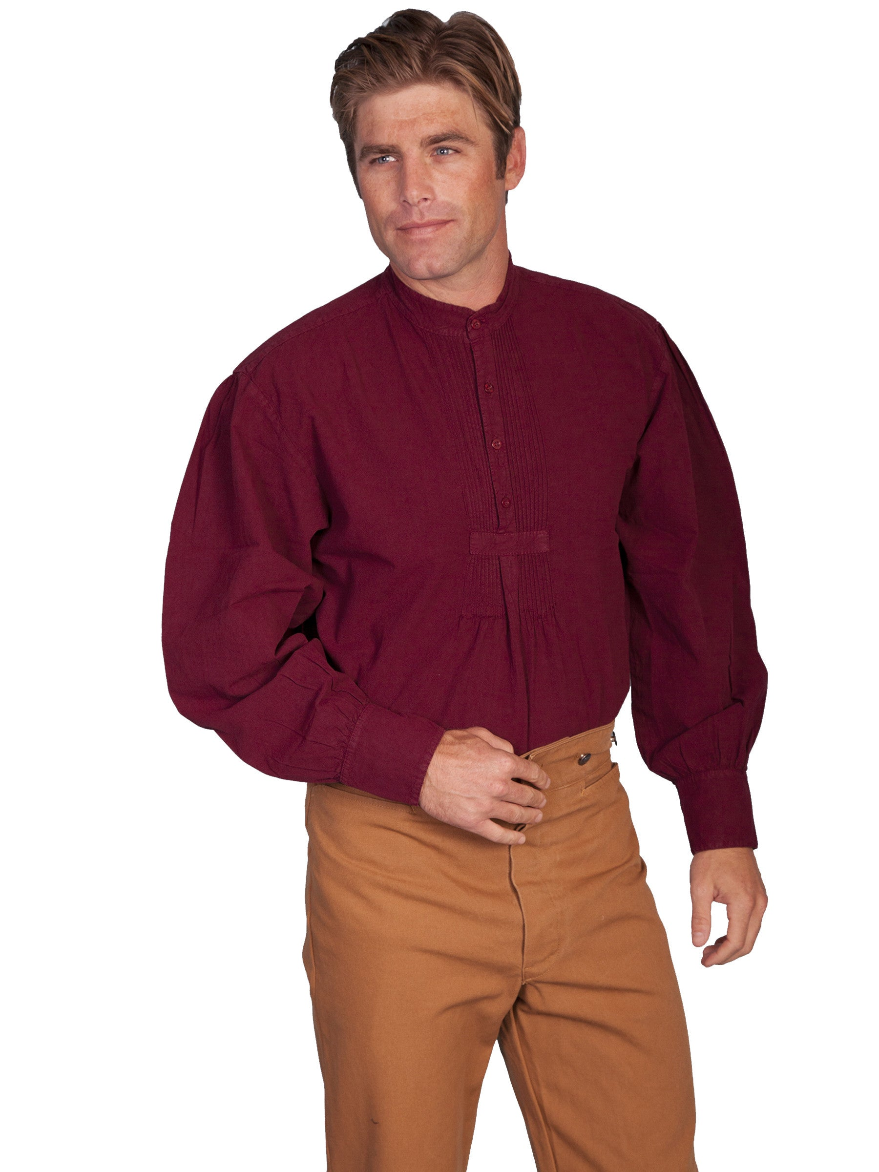 9e2075c9bd8 Scully Mens Rangewear Old West Shirt Bib Front with Pleats Burgundy Front  ...