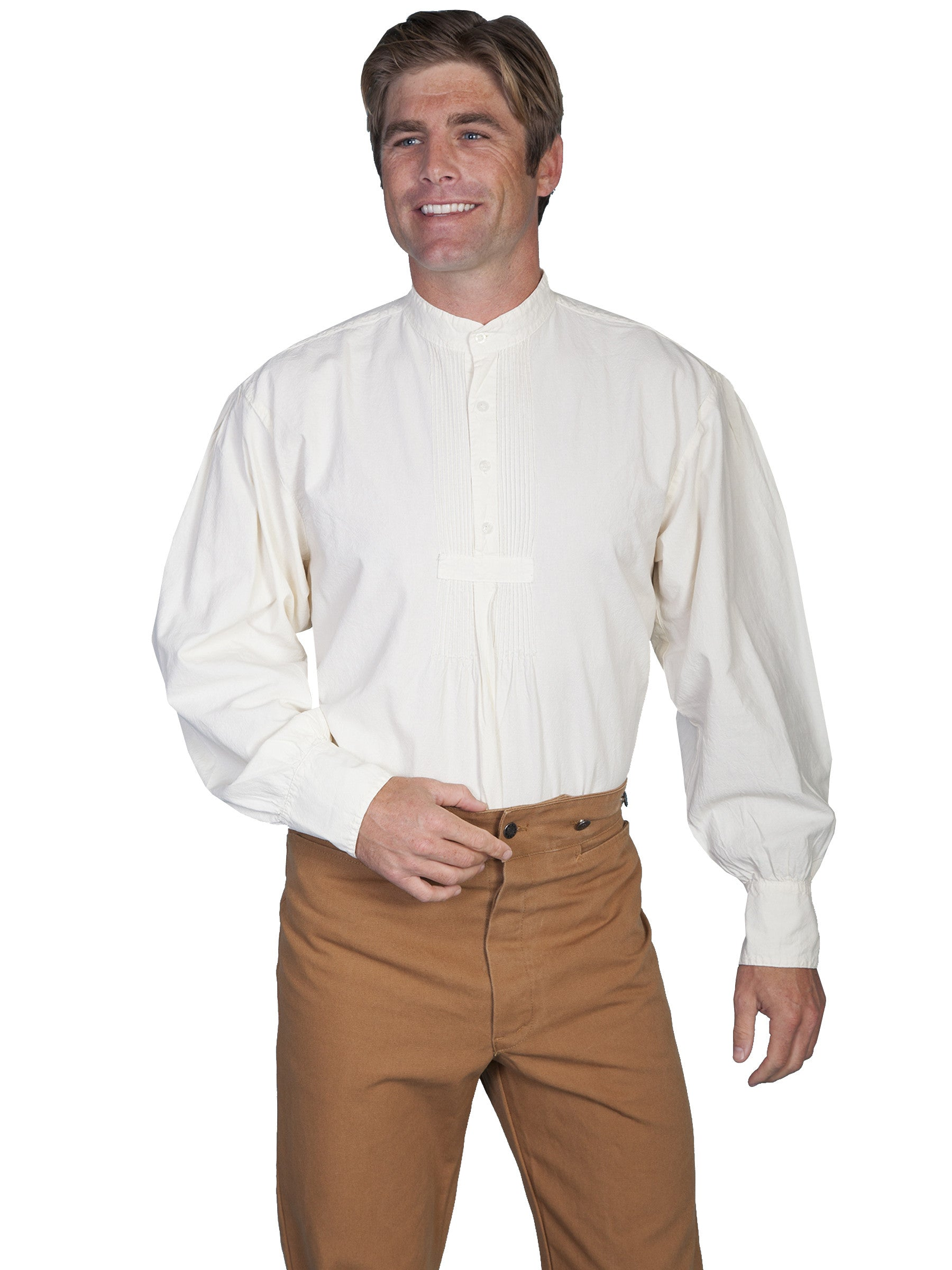 955322d5a1c ... Scully Mens Rangewear Old West Shirt Bib Front with Pleats Natural  Front ...