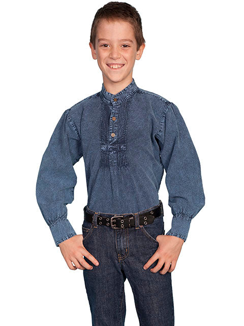 Scully Children's Rangewear Pleated Shirt Dark Blue