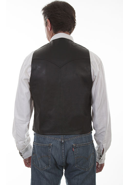 Scully Mens Western Vest Lamb w Button Front, Black Back View