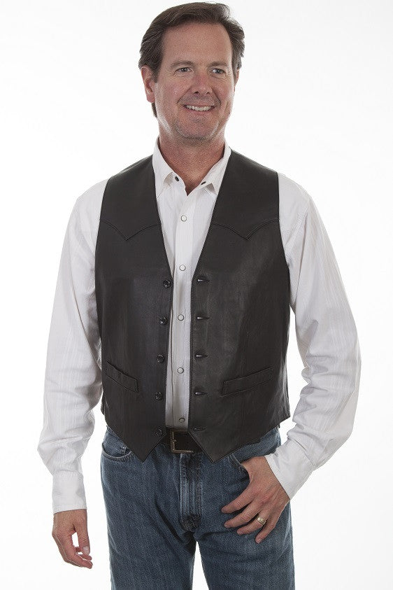 Scully Mens Western Vest Lamb w Button Front, Black Front View