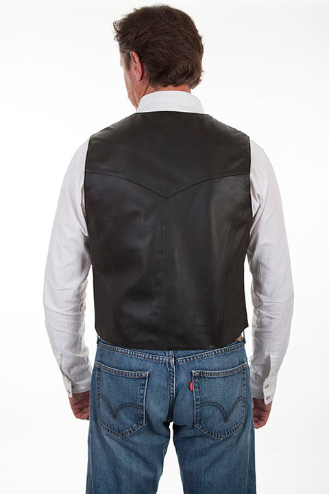 Scully Mens Western Snap Front Lamb Vest, Black, Back View