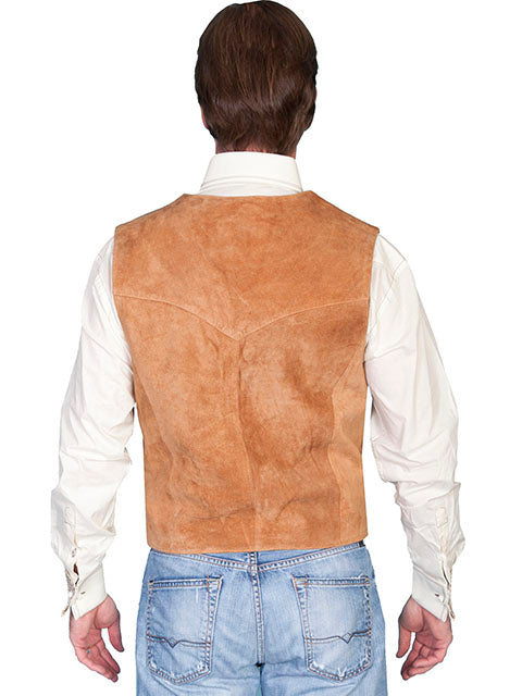 Scully Men's Western Vest Suede Snaps Rust Back