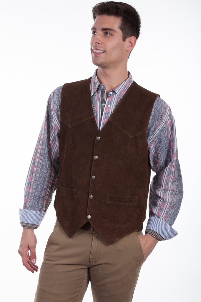 Scully Men's Western Vest Suede Snaps Brown Front