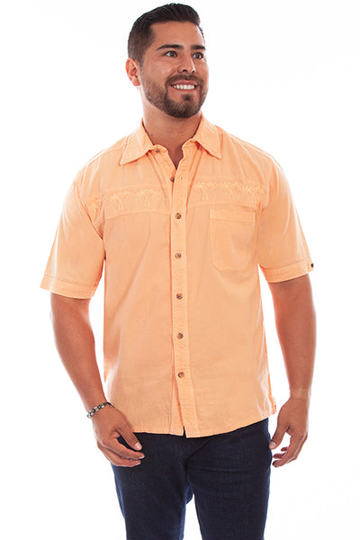 Farthest Point Collection Short Sleeve Palm Tree Papaya Front