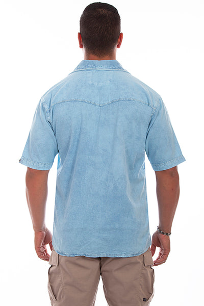 Farthest Point Collection Short Sleeve Palm Tree Distressed Sky Blue Front