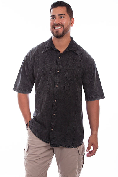 Farthest Point Collection Short Sleeve Trac Shirt Black Distressed Front