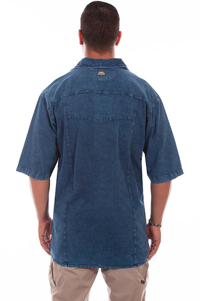 Farthest Point Collection Short Sleeve Trac Shirt Denim Distressed Front