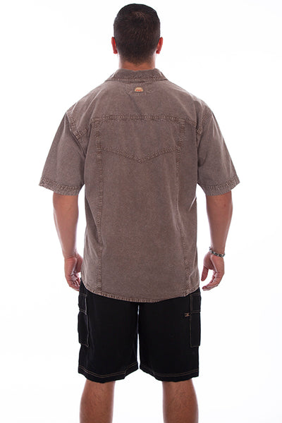 Farthest Point Collection Short Sleeve Trac Shirt Distressed Latte Front
