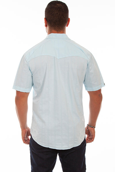 Farthest Point Collection Short Sleeve Beachwood Aqua Sky Front
