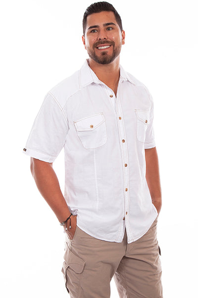 Farthest Point Collection Short Sleeve Beachwood White Front