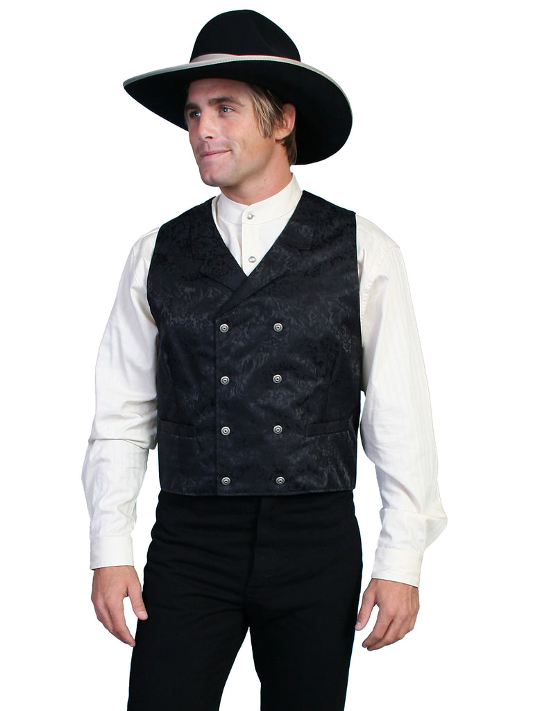 Scully Old West Men's Wahmaker Vest Double Breasted Jacquard Black