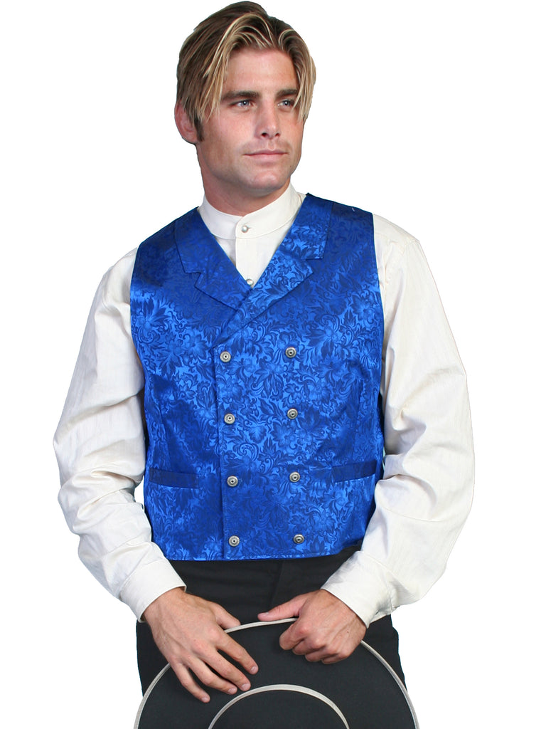 Scully Old West Wahmaker Vest Double Breasted Jacquard Royal Blue Front