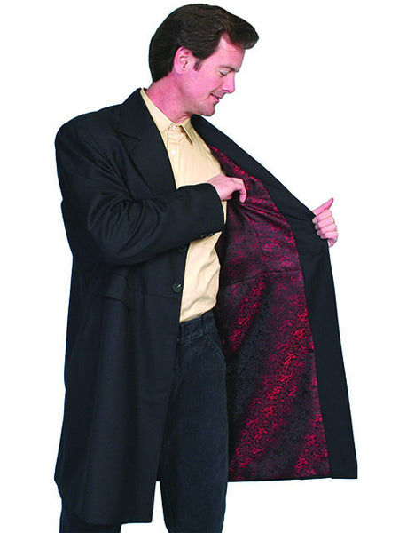 Mens Scully Old West Wahmaker Frock Coat with Buttons Front, Red Dragon Lining