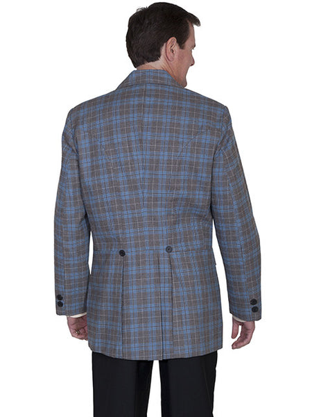 Mens Old West Wahmaker Town Coat Rich Plaid Front