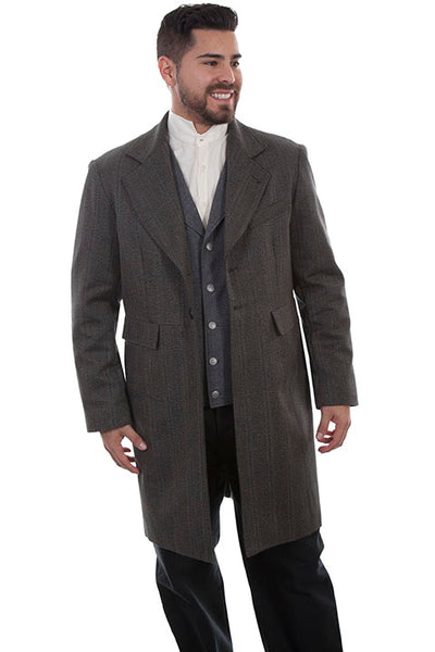 Men's Scully Old West Wahmaker Frock Coat Black Tonal Stripe Front