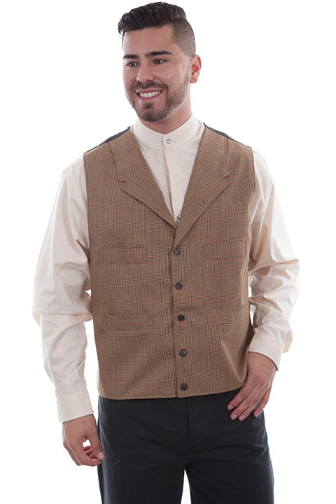 Men's Western Vest Collection: Wahmaker Classic Tan Plaid