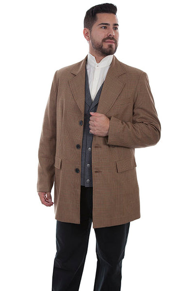 Men's Scully Old West Wahmaker Town Coat Tan Plaid Front