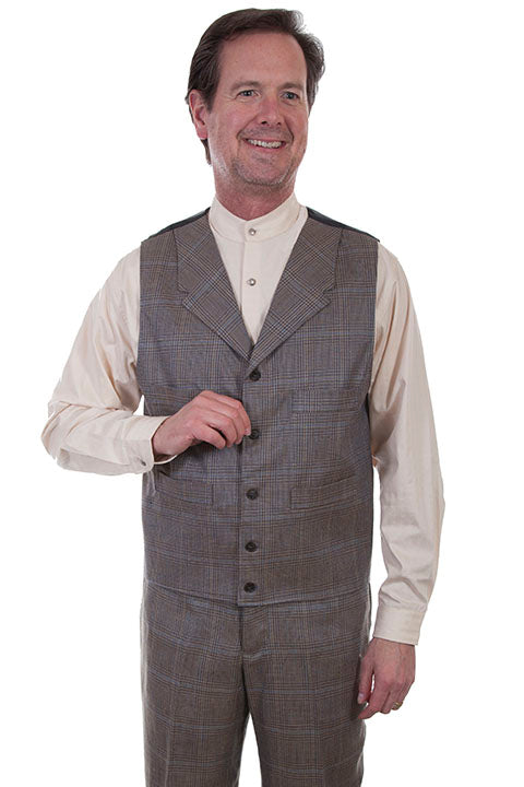 Scully Men's Wahmaker Classic Executive Plaid Vest Front View