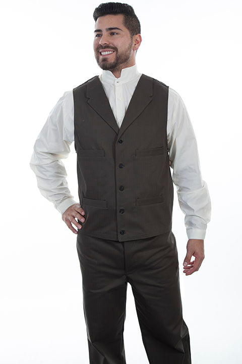 Scully Men's Wahmaker Herringbone Vest Charcoal