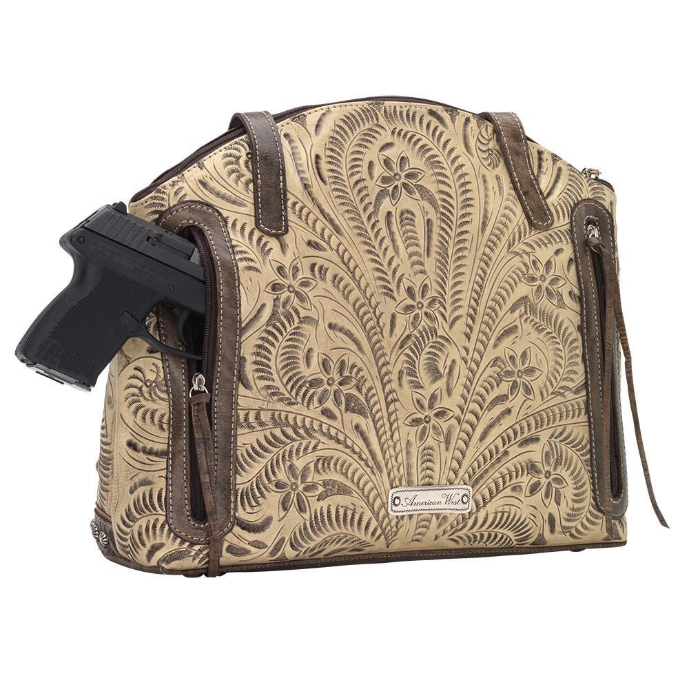 American West Handbag, Annie's Secret, Half Moon Tote Sand Back Gun