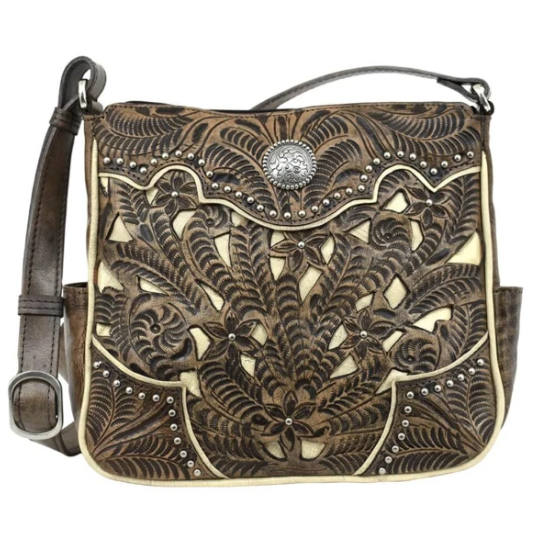 American West Hill Country Collection Crossbody Distresed Charcoal