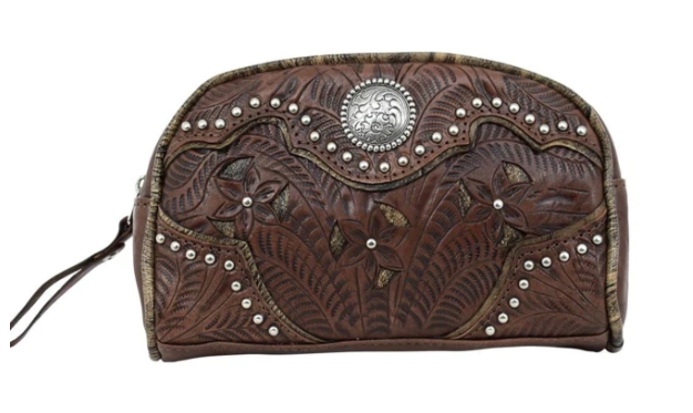 American West Hill Country Cosmetic Case Dark Brown