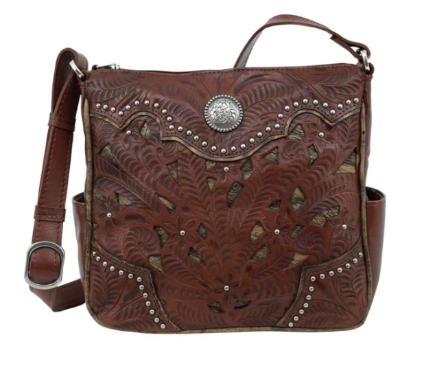 American West Hill Country Collection Crossbody Dark Brown