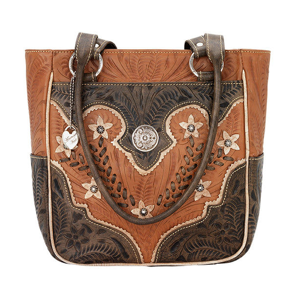 American West Handbag Wildflower Collection: Zip Top Shoulder Ivory Flowers Natural Tan Front