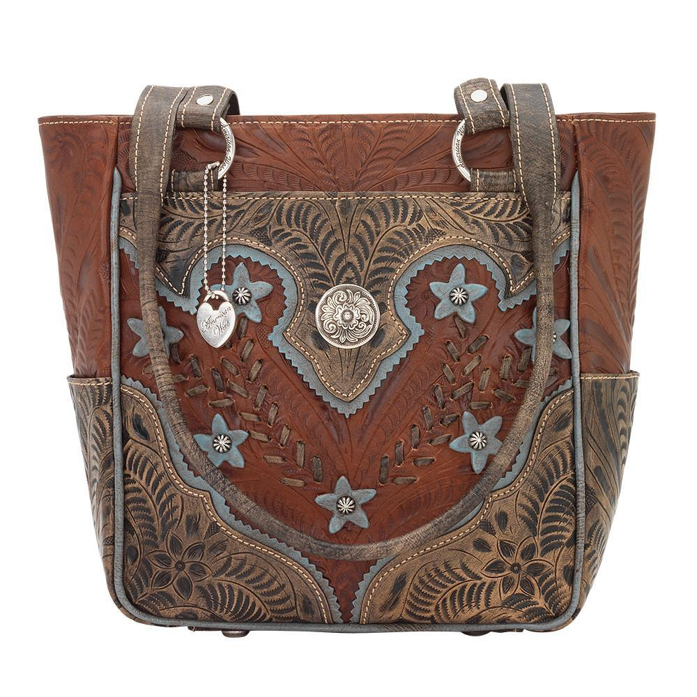 American West Handbag Wildflower Collection: Zip Top Shoulder IBlue Flowers Antique Brown Front