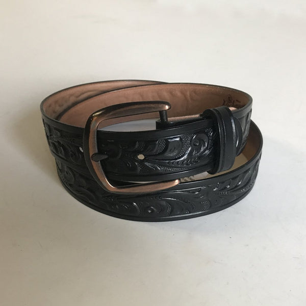 Rockmount Ranch Wear Accessory Tooled Floral Leather Belt Brown