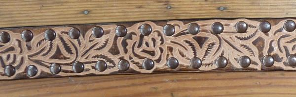 Rockmount Ranch Wear Accessory Floral Tooled Leather Belt with Studs