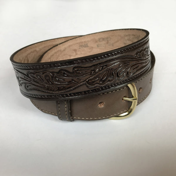 Rockmount Ranch Wear Tooled Leaf Leather Belt Brown
