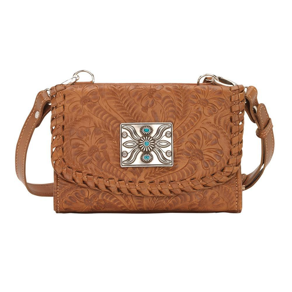 American West Handbag Texas Two Step Collection Crossover Wallet Bag Golden Tan Front