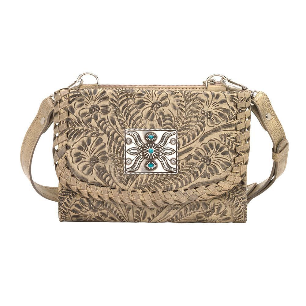 American West Handbag Texas Two Step Collection: Crossbody Wallet Sand Front