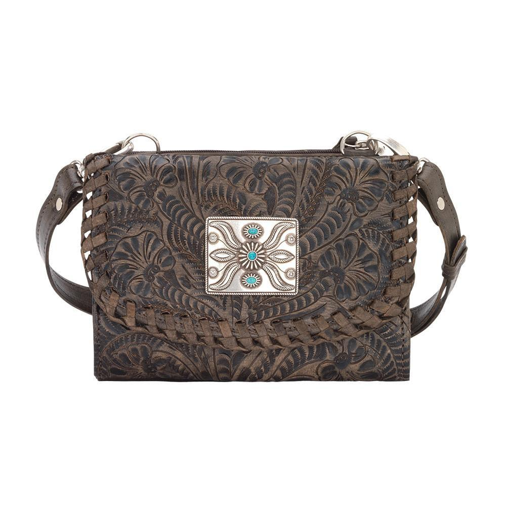 American West Handbag Texas Two Step Collection Crossover Wallet Bag Distressed Charcoal Brown Front
