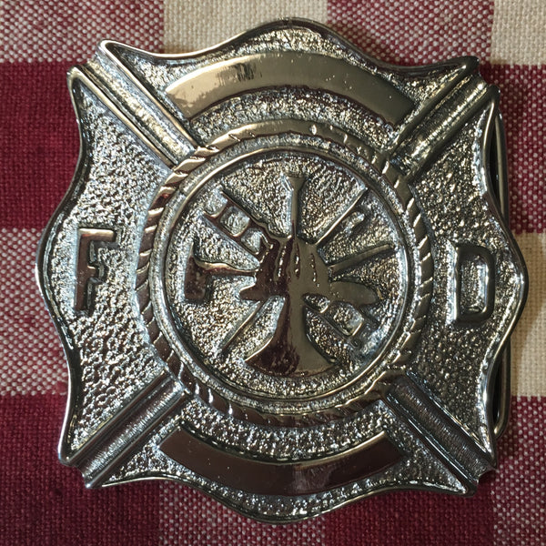 Buckle Fire Department Insignia Silver Tone