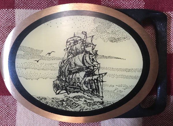 Oval Faux Scrimshaw Clipper Ship Trophy Buckle