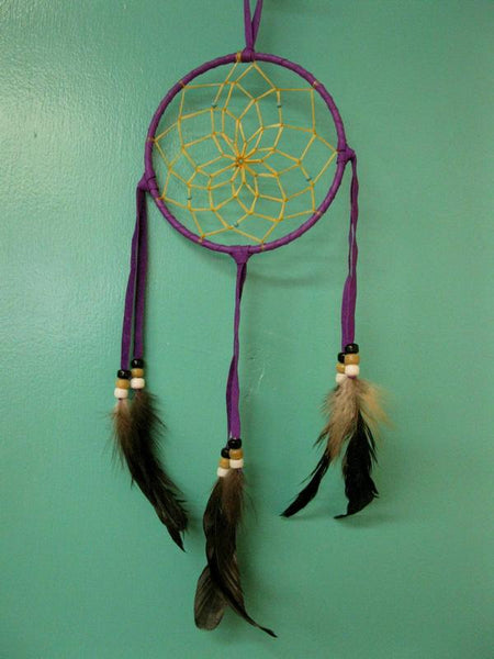 "Authentic Navajo Dream Catcher 5"" Purple Wrap"