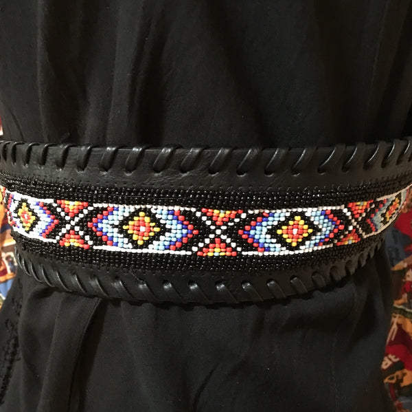 "Fashion Black Belt 3"" Wide, Beaded, Crystals on Buckle, Keeper, Tip"