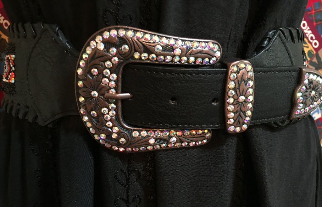 "Fashion Black Belt 3"" Wide, Beaded, Crystals on Buckle, Keeper, Tip Detail"