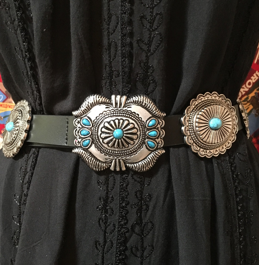 Western Fashion Black Leather Belt with Oval Conchos and Faux Turquoise