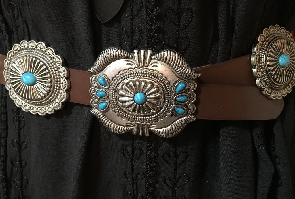 Western Fashion Brown Leather Belt with Oval Conchos and Faux Turquoise