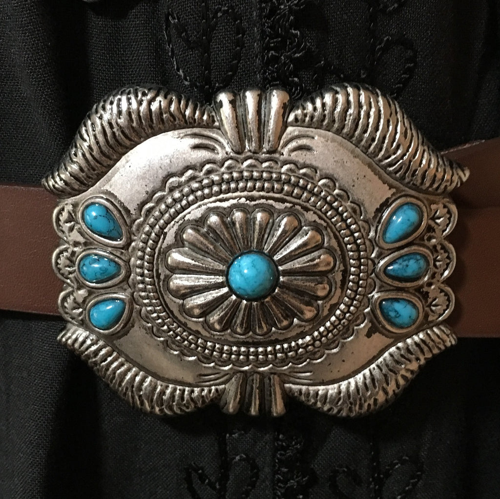 Western Fashion Brown Leather Belt Buckle with Oval Conchos and Faux Turquoise